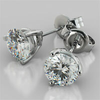 4.00 Ct Round Cut Diamond Earring Stud 14K Solid White Gold Earrings  A+
