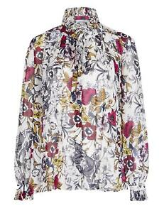 Marks & Spencer Per Una Floral Print Ruffle Neck Blouse with Under Cami
