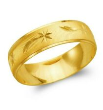 14K yellow solid Gold band Ring Men's Women's Wedding Engagement 6mm size 5-13
