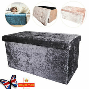 Large Crushed Velvet Foldable Ottoman Storage Box Double Bed Foot Stool 2 Seater
