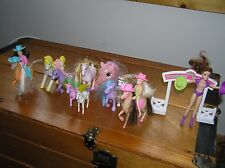 Lot of Various Plastic Rubber Size Pink Purple Brown Pony Horse & Cowgirls –