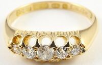 18 Carat hallmarked yellow gold, 5 stone diamond ring. Size L 1/2. approx 0.25ct