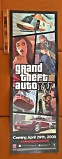 HUGE GRAND THEFT AUTO 4 IV VIDEO GAME IN-STORE 2-SIDED POSTER 2008 PS3 XBOX 360!
