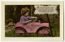 1920's Children Chld GIRL on PEDDLE CAR w Toy Monkey tinted photo postcard