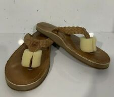 Sperry Brown Leather Flip Flop Slides Sandals Women's Ladies Size 8 Flats F19