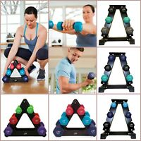 Dumbbell Set With Rack Neoprene Coated Workout Fitness Gym Weights Training