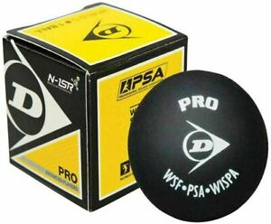 DUNLOP PRO SQUASH BALL - DOUBLE YELLOW DOT - ONE BALL - BLACK  - RRP £10