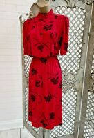 🌹 VINTAGE 🌹 RETRO 40'S RED FLORAL FIT & FLARE TEA DAY DRESS ORIGINAL 14