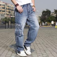 Designer Absatz Hip-Hop Skateboardhosen Herren Jeans Baggy Multi-Tasche Hosen