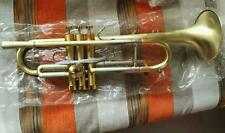 Professional Customized Heavy Trumpet Horn B-Flat Brushed Brass Finish Prof Case