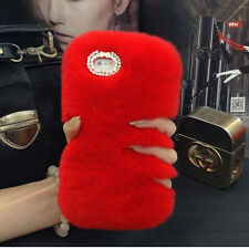 Hot Luxury Bling Diamond Bowknot Warm Soft Real Rabbit Fur Back Phone Case Cover