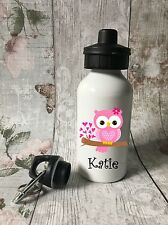 Personalised Cute Owl Pink Drinks, Water Bottle, Girl School, Sport, Dancing
