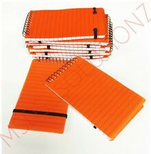 10 X ORANGE MINI NOTE BOOK SPIRAL BOUND WRITING NOTEPAD SMALL PAD LINED PAGES