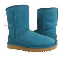 UGG Classic Short II Cascade Teal Blue Suede Fur Boots Womens Size 9 *NIB*