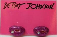 Betsey Johnson Valentine's Day Small Hot Pink Glitter Lips Post Earrings $30