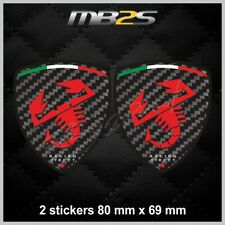 2 sticker decals FIAT ABARTH Carbon look and red logo 500 500X Punto Tipo 090