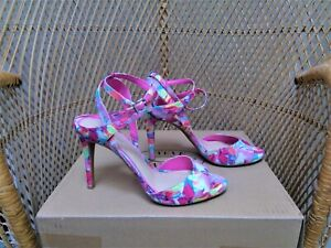 Gianni Bini Pink Floral Print Strappy Open Toe Heels 8.5