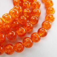 Orange Wholesale Round 8mm Crackle Glass Beads G0611 - 50, 100 Or 200PCs