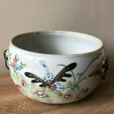 Superb Antique Chinese Handled Footed Bowl Flowers & Butterfliess Design