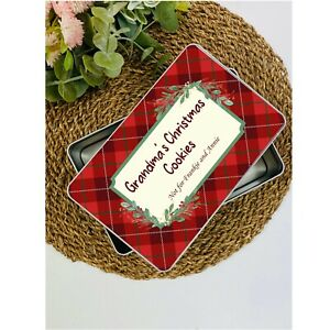 Personalised Christmas Cookie Tartan Tin, Treat Tin, Secret Santa, Gift Idea
