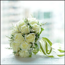 Ivory Artificial Satin Roses New Bridal Bouquet Wedding Brooch Bride Hand Flower