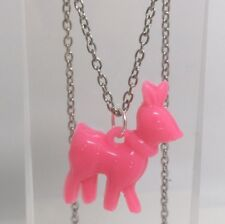 Pink Deer Doe Charms Plastic Kitch Pendant Silver Chain  D069 Acrylic
