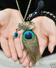 2017 new retro peacock feathers over drilling long necklace sweater chain