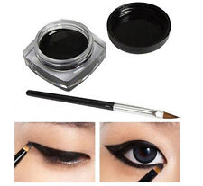 Women Waterproof Shadow GEL Eyeliner Eye Liner Makeup Cosmetic Brush Black Set
