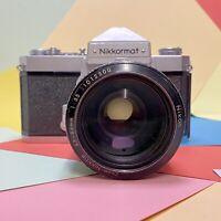 Nikon Nikkormat FT 35mm SLR Film Camera & Nikon 46-83mm Lens Working Lomo Retro