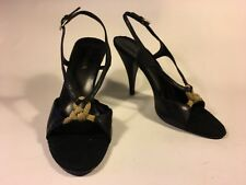 Prada, black leather heels with contrast rope details, and black  hessian toe 25