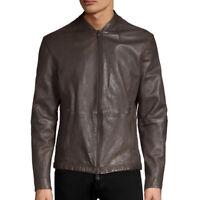 John Varvatos Star USA Men's Cafe Racer Leather Jacket Triple Needle Dark Brown