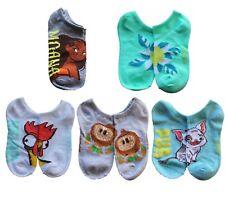 Child Disney Princess Chief Moana 5pk No Show Socks Pua Pig Hei Hei Rooster