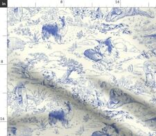 Country Dogs Toile Blue Clouds Landscape Spoonflower Fabric by the Yard