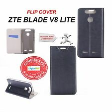 CUSTODIA COVER HORIZONTAL FLIP CASE LEATHER ECO PELLE NERO PER ZTE BLADE V8 LITE