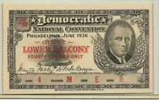 1936 Convention Ticket to Democratic National Convention - Phladelphia - FDR