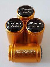 FIAT 500 GOLD MOTORSPORTS 20mm WHEEL CAR VALVE TYRE DUST CAPS 500L 500X ABRATH