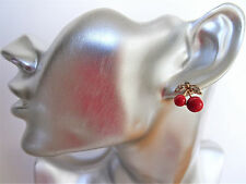 Gorgeous Cherry Design Crystal Stud Earrings in Gold Tone Retro Rockabilly SMALL