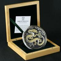 Mongolia 5000 togrog 2007 THE YEAR OF THE DRAGON SILVER PROOF 5 OZ