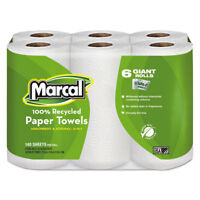 Marcal 100% Recycled Roll Towels 5 1/2 x 11 140/Roll 6 Rolls/Pack 6181PK