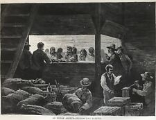An Indian Agency . Distributing Rations. Antique Wood Engraving, 1875.