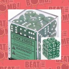 D6 Dice Opaque 12mm Green/white (36 Dice In Display)  - BRAND NEW
