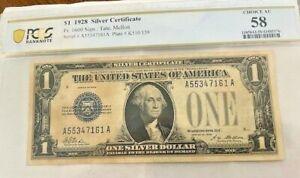 AC 1928 $1 Silver Certificate PCGS Choice AU58- Fr 1600-Tate, Mellon-Funnyback