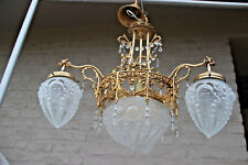 French Chandelier brass glass gothic dragon arms louis XVI decor  1960 n2
