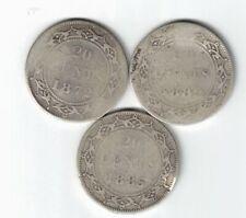 3 X NEWFOUNDLAND TWENTY CENTS QUEEN VICTORIA 925 SILVER COINS 1872H 1882H 1885