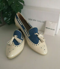 See By Chloe Beige Leather and Denim Tassle Pumps Shoes Size UK 7 RRP £245 BNWT