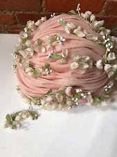 VTG 60s CHRISTIAN DIOR Chapeaux PARIS Hat Flowers Turban Pink