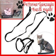 PARURE guinzaglio+pettorina corda leash leine cat dog cane gatto animali NEW