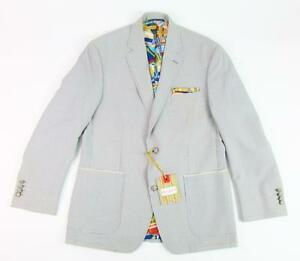 ROBERT GRAHAM RG ALTAIR PATCH POCKET PLAID GRAY/WHITE CASUAL SPORTCOAT BLAZER 40