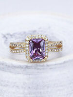 2.50Ct Emerald Cut Amethyst Diamond Engagement Ring Halo 14K Rose Gold Finish