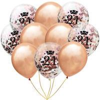 "10Pcs 12"" 18/21/30/40/50/60/70 Rose Gold Confetti Balloons Birthday Party Decor"